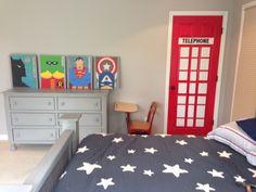 Superman telephone booth door for James superhero room
