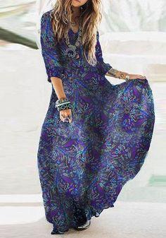 Purple Floral V-neck 3/4 Sleeve Fashion Maxi Dress
