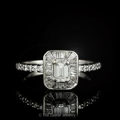 .69cttw Emerald Cut Diamond Engagement Ring with Diamond Bezel Accent in 14k White Gold
