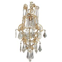 Early 20th Century Small French Brass and Clear Crystal Chandelier 1