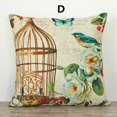 Flower bird pillow Vintage birdcage design linen cushions 18 inch