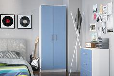 CANNES 2 DOOR WARDROBE, WHITE & BLUE