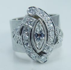 Vintage Jewelry 14K White Gold .77ct Diamond Wide Band Ring 12.6gr