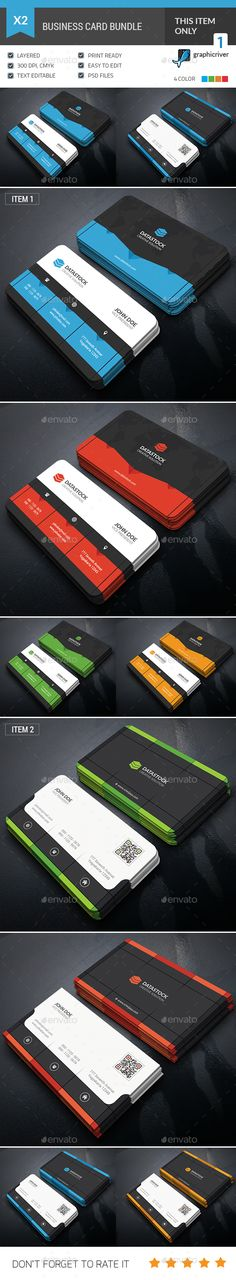 Dark Business Card Bundle by GOWES This is a 2 in 1 Dark Business Card Bundle. This template is 300 dpi print-ready CMYK 16 PSD files. All main elements are easily e