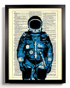 Man On The Moon Upcycled Dictionary Art Vintage by StayGoldMedia, $6.99