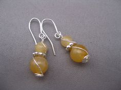 Citrine Earrings Ss Wire Wrapped November Birthstone by Banba