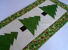 Christmas Quilted Table Runner Christmas Tree Table Quilt
