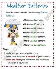 In this activity, students get to make AB, ABC, AAB patterns with weather. Kindergarten Science, Preschool Math, Math Classroom, Teaching Math, Math Math, Future Classroom, Math Games, Teaching Ideas, Classroom Ideas