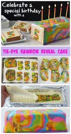 Awesome Tie Dye Surprise Birthday Cake.