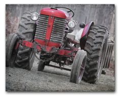 OLD RED TRACTOR Farm Photography Industrial by CountryWithAttitude, $20.00