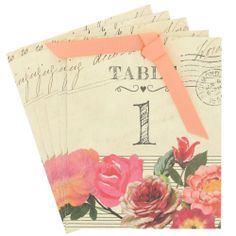 roses wedding table numbers - pack of 12 from Paperchase