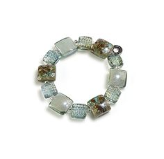Byzantium : bracelet in glass beads and shiny minerals