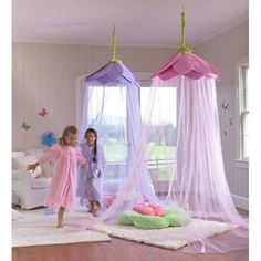 The Secret Garden Hideaway Canopy is a decorative canopy that envelops kids in an imaginary world of enchantment. Hang it from the ceiling over a play space … Cozy Bedroom, Girls Bedroom, Bedroom Decor, Girl Room, Baby Room, Hideaway Bed, Newborn Schedule, Bed Tent, Bed Canopies