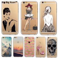 Phone Case Cover For iPhone 5 5s SE 6 6s Plus 6plus Soft TPU Silicon Transparent Scenery Girls Fruits Cats Painted Fundas