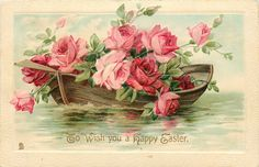 "Antique floral greetings post card Circa 1912 Postmark Litchfield CT ""To Wish You a Happy Easter"" Painted fantasy scene of a row boat filled with pink r. Flowers of Springtime - Rose Boat Vintage Labels, Vintage Cards, Vintage Postcards, Vintage Images, Printable Vintage, Free Printable, Embroidery Designs, Vintage Rosen, Decoupage Vintage"