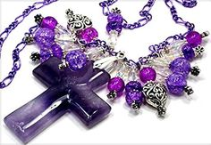 Carved Amethyst Gemstone Cross with Swarovski Crystals, Crackel Quartz Beads, & Sterling Silver Plate Heart Beads