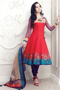 Charming red & purple cotton suit