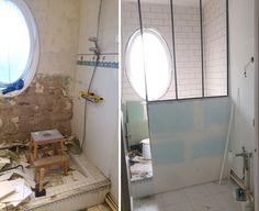 Du béton ciré pour la rénovation de notre salle de bain ! - Barnabé aime le café Mirror, Bathroom, Furniture, Home Decor, Master Bathroom Vanity, Washroom, Decoration Home, Room Decor, Mirrors