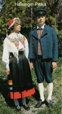 These are the Finnish national costumes of the region where I was born. Finnish Language, Norway Viking, Historical Clothing, Folk Clothing, Costumes Around The World, Helsinki, Folk Fashion, Folk Costume, Traditional Dresses