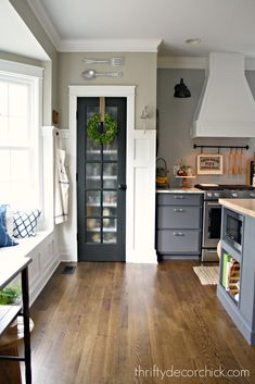 Most every room can take some black accents -- they are my favorite decorating accessory! Whether it be accent walls, chalkboards or black interior doors, black add some much needed contrast to most rooms. #kitchendeco #kitcheninspo Painted Pantry Doors, Kitchen Pantry Doors, Kitchen Pantries, Rustic Pantry Door, Pantry Office, Frosted Glass Pantry Door, Glass Doors, Layout Design, Unfinished Kitchen Cabinets