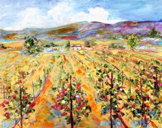 Original California Landscape Vineyard Painting by Karensfineart
