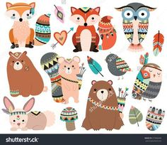 Woodland Tribal Animals Cute Forest and Nature Design Elements Vector