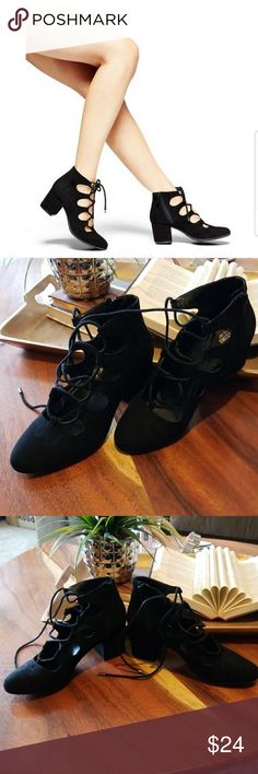 Lace Up Faux Suede Pumps Cute Mossimo lace up pump, these babies were purchased earlier this year, worn once, and forgotten about *Junky Closet*. Fits true to size, faux suede material, have remained boxed and wrapped in tissue paper. Reasonable offers welcome. Mossimo Supply Co Shoes Heels