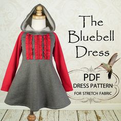 Girls Dress, PDF sewing pattern, Childrens Kids clothing pattern, Stretch Pattern, Girls Dress PDF, The Bluebell Dress, Sizes 1 to 8 years. $6.95, via Etsy.