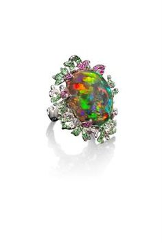 Creeping Vine Ring   Incredible Collectors Gem, 18K White Gold, 17.95ct Mexican Anhydrous Fire Opal Diamonds, Tsavorite and Ruby pave