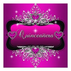 Quinceanera 15th Birthday Party Pink Black Invitation