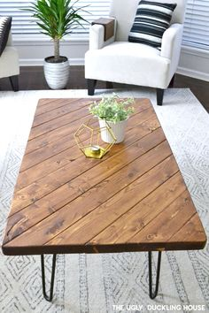 DIY Furniture and Makeover: My DIY hairpin coffee table . - DIY Furniture and Makeover: My DIY hairpin coffee table - Coffee Table Design, Diy Coffee Table Plans, Hairpin Leg Coffee Table, Wood Coffee Tables, Coffee Table To Dining Table Diy, Ideas For Coffee Tables, Diy Wood Table, 2x4 Table, Coffee Table Upcycle