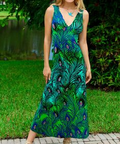 Look what I found on #zulily! Green & Blue Peacock Maxi Dress #zulilyfinds