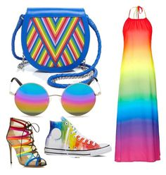 """RAINBOW!"" by albertrkrogstrup on Polyvore featuring Topshop, Salvatore Ferragamo, Lili Radu, Matthew Williamson and Converse"