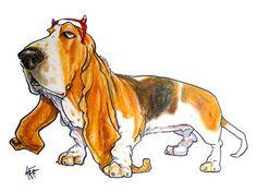 Basset Hound caricature portrait by John LaFree