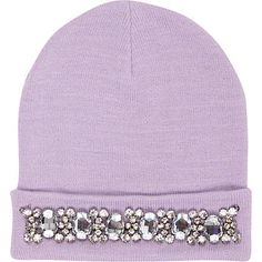 Lilac embellished beanie hat $30.00