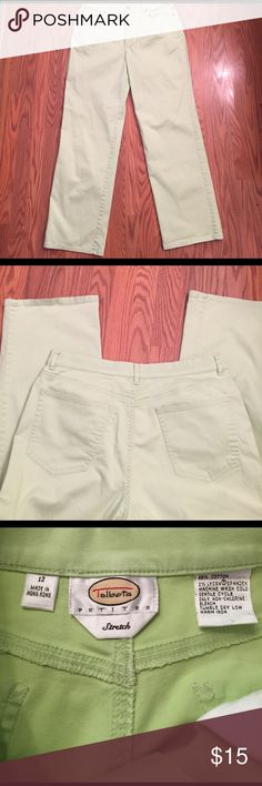 "Talbots's pants Talbots's lime green stretch pants, inseam 28""  mid rise, color is closer to third pic Talbots Pants Straight Leg"