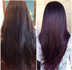 My fall pick: Red Violet balayage/ombré before and after. I absolutely love my hair color. It's more vibrant in the sun.