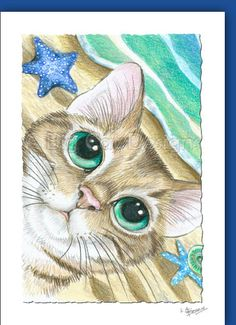 Summer Kitty - Set of 3 - Big Eye Tabby Cat Notecards