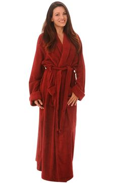 5ebf5c7a289 Ankle length terry cotton bathrobe for men and women from Alexander Del  Rossa. This unisex robe is made from 13 oz loop terry fabric on both sides