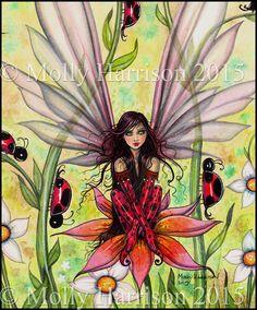 Ladybug Fairy - Original Watercolor Fine Art Giclee Print - Fantasy Art of Molly Harrison 12 x 16