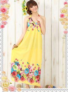 Everyday dress. Maxi Halter Flower Lap Long Dress Yellow $7.57