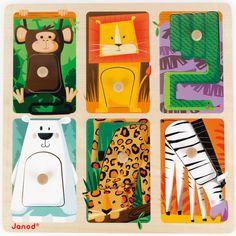 Puzzle tactile Animaux du zoo (6 pièces) : Janod