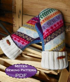PDF MITTEN PATTERN - sewing diy pattern tutorial for upcycled felted wool fleece lined mittens - upcycling - Mittens Template, Mittens Pattern, Sewing Crafts, Sewing Projects, Sewing Diy, Sewing Ideas, Alter Pullover, Sweater Mittens, Wool Sweaters