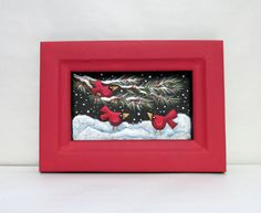 Red Cardinals on Evergreen Branch Winter Setting Art Hand or