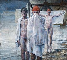 Daniel Barkley. Swimmers, 2009, acrylic on canvas, 92x102cm