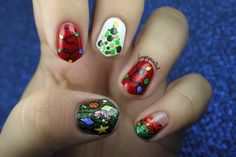 christmas decorated fingers