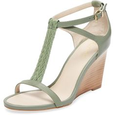 Seychelles Women's Kite T-Strap Leather Wedge - Green - Size 10 ($79) ❤ liked on Polyvore featuring shoes, sandals, green, braided leather sandals, leather platform sandals, ankle strap platform sandals, wedges shoes and t strap sandals