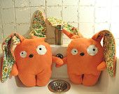 Crazy Orange Rabbit, cute and funny plush designer toy for children. Hypoallergenic, eco friendly and soft plushie