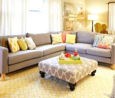 sectional with large square ottoman