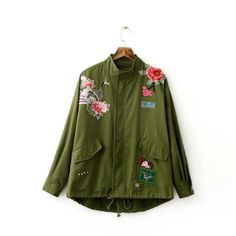2017 Women Army Green embroidered bomber jacket Floral Satin Bomber Jacket  Loose Casual Coat Punk Outwear Capa Outerwear  Affiliate 2662751446a